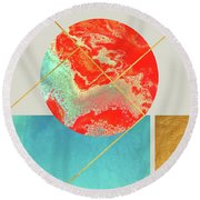 Earth And Sea Round Beach Towel by Uma Gokhale