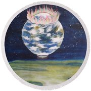 Earth Aura Round Beach Towel