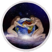 Earth Child Round Beach Towel