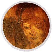 Round Beach Towel featuring the painting Earth Face by Winsome Gunning