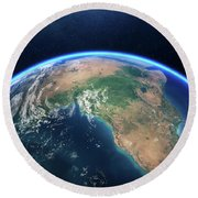 Earth From Space Africa View Round Beach Towel
