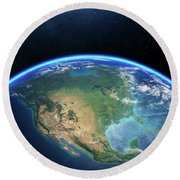 Earth From Space North America Round Beach Towel