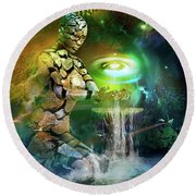 Round Beach Towel featuring the digital art Earth Life by Shadowlea Is