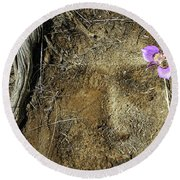 Round Beach Towel featuring the photograph Earth Memories-desert Flower # 1 by Ed Hall