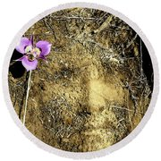 Round Beach Towel featuring the photograph Earth Memories - Desert Flower # 2 by Ed Hall