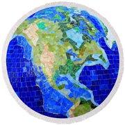 Earth Mosaic 1 Round Beach Towel by Randall Weidner