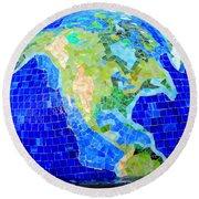 Earth Mosaic 2 Round Beach Towel by Randall Weidner