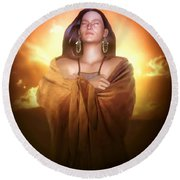 Earth Mother Round Beach Towel