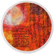Round Beach Towel featuring the mixed media Earth Music by Nancy Merkle
