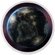 Earth One Day Round Beach Towel by David Collins