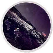 Round Beach Towel featuring the digital art Earth Rise On The Moon by Methune Hively