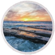 Earth, Sea, Sky Round Beach Towel