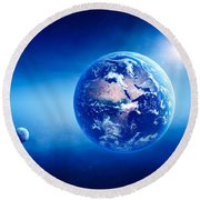 Earth Sunrise Deep Space Round Beach Towel