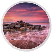 Earth, Water And Sky Round Beach Towel