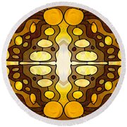 Earthly Awareness Abstract Organic Artwork By Omaste Witkowski Round Beach Towel