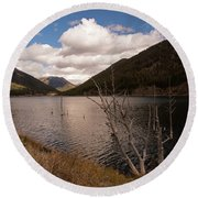 Earthquake Lake Round Beach Towel