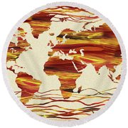 Earthy Lines World Map Abstract Round Beach Towel