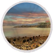 Round Beach Towel featuring the photograph Eastport Low Tide by Lori Deiter