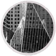 East 42nd Street, New York City  -17663-bw Round Beach Towel
