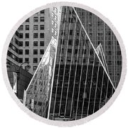 East 42nd Street, New York City  -17663-bw Round Beach Towel