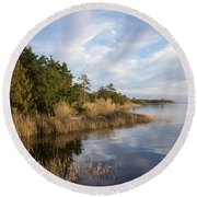 East Bank Looking South At Sunset Round Beach Towel