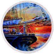 Round Beach Towel featuring the painting Red Sky In The Morning by Hanne Lore Koehler