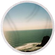 East Coastline In New Zealand Round Beach Towel