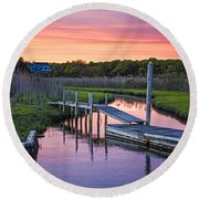East Moriches Sunset Round Beach Towel