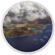 East Oahu From The Air Round Beach Towel