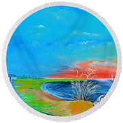 East Of The Cooper Round Beach Towel
