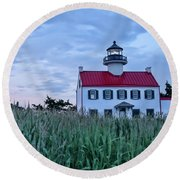 East Point At Twilight Round Beach Towel