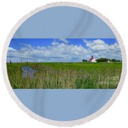 East Point Lighthouse Across The Marsh  Round Beach Towel by Nancy Patterson