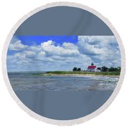 East Point Lighthouse At High Tide Round Beach Towel by Nancy Patterson