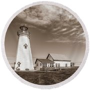 Round Beach Towel featuring the photograph East Point Lighthouse by Chris Bordeleau