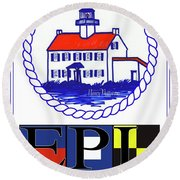 East Point Lighthouse Poster Round Beach Towel by Nancy Patterson