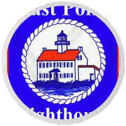 East Point Lighthouse Road Sign Round Beach Towel by Nancy Patterson