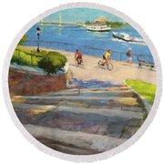 East River From Carl Schurz Park Round Beach Towel