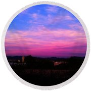 East Side Of A Sunset I Round Beach Towel