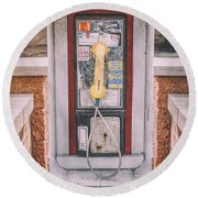 East Side Pay Phone Round Beach Towel