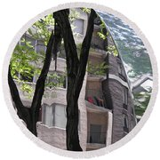 Round Beach Towel featuring the photograph East West Gate 4  by Sarah Loft