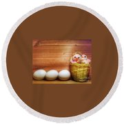 Easter Basket Of Pink Chicks With Eggs Round Beach Towel