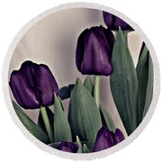 A Display Of Tulips Round Beach Towel