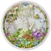 Round Beach Towel featuring the mixed media Easter Breakfast by Mo T