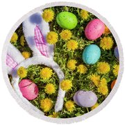 Round Beach Towel featuring the photograph Easter Bunny Ears by Teri Virbickis