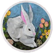 Easter Bunny  Round Beach Towel