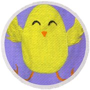 Round Beach Towel featuring the painting Easter Chicky by Jamie Frier