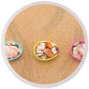 Easter Egg Baskets On Beach Round Beach Towel
