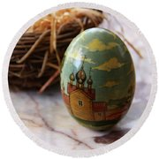 Easter Egg Russian Style Round Beach Towel