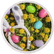 Round Beach Towel featuring the photograph Easter Eggs And Bunny Ears by Teri Virbickis