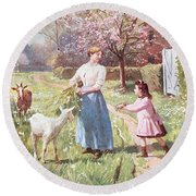 Easter Eggs In The Country Round Beach Towel by Victor Gabriel Gilbert